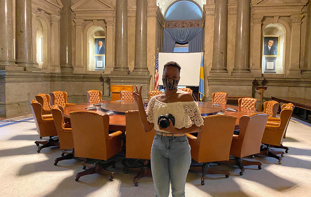 August 2020. Philadelphia, USA. Nasya Jenkins stands inside City Hall, where she dropped off her ballot on Nov.2. Photo courtesy Nasya Jenkins.